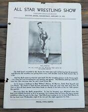 JANUARY 16, 1935 ALL STAR WRESTLING SHOW PROGRAM-BOSTON ARENA-BULL MARTIN-RARE!