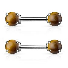 2 lot Tiger Eye Natural Precious Stone Nipple Bar Rings Barbell Piercing Jewelry