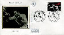 FRANCE FDC - 2729 1 BOXE MARCEL CERDAN - 19 Octobre 1991 - LUXE sur soie