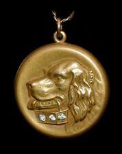 Fabulous! *ANTIQUE 1874* Victorian GOLDEN RETRIEVER DOG Jeweled LOCKET Necklace