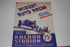 Midget Auto Races Program, San Diego Balboa Stadium, Sept 11 1946, Original
