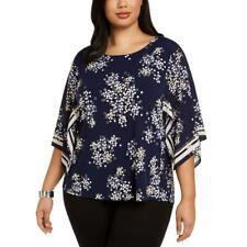 Alfani Womens Blue Pritned Kimono Sleeves Top Blouse Shirt Plus 1X BHFO 9436