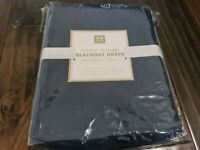"Pottery Barn Teen Classic Grommet Blackout Drape Navy Blue New 50"" x 84"" Defects"