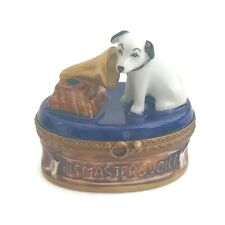 Rca Nipper His Master's Voice Limoges France Handpainted Porcelain Trinket Box