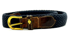 Lottusse Vintage Mens Leather and Fabric Stretch Belt Blue Brown Size 34