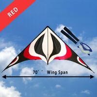 """NEW 70"""" Sport Stunt Kite Dual-Line 6ft Wing Span Delta Outdoor Flying RED"""
