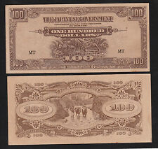 "Malaya Japanese Occupation 100 Dollar (1942) P-M8b Prefix ""MT"" - AUNC"