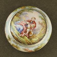 Antique French Silver & Enamel Snuff Patch Box, Courting Couple Scene