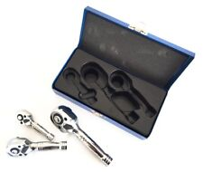 "3Pce Professional Stubby Ratchet Handle Set 1/4"" 3/8"" 1/2"" Wrench Set Metal Case"