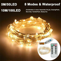 10M 100LED USB Remote Micro Copper Wire String Lights Xmas Party Fairy Lights SO