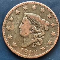 1818 Large Cent Coronet Head One Cent 1c Better Grade #9064