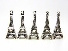 5 Pcs -  Large Tibetan Silver 3d Eiffel Tower Charm 27mm Jewellery Pendant i76