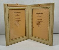 Vintage PARAMOUNT LEATHER FOLIO PICTURE FRAME - Beige Faux Leather - 2 5x7's