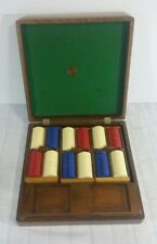 Vintage Used Mason & Co. POKER CHIPS Blue White Red & Box w/ Center Logo QTY 299