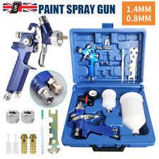 2 x HVLP Spray Gun Kit Gravity Feed Vehicle Car Paint 1.4MM 0.8MM Nozzle