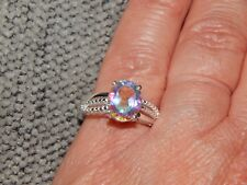 MERCURY COATED GLOW QUARTZ SOLITAIRE RING - SIZE T-2.250 CARATS-STERL.SILVER 925