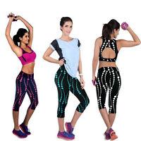 Yoga Sport Women Floral High Waist Leggings Gym Pants Stretch Cropped Trousers