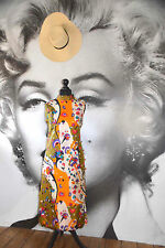 60'S VINTAGE MAXI DRESS BEACH WEDDING FLORAL SILK HIPPIE BOHO FESTIVAL SILK