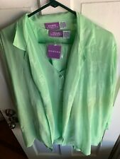 Suzanne Somers 4 Piece Sheer Green Set Vest Shirt Skirt Pants NWT Medium