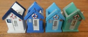 Beach hut Toothbrush / Pen holder Sea Beach Blue White Green Pale blue UK seller