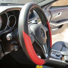 """Genuine Leather Iteza Black+Red Steering Wheel Cover It58011 Car Suv Truck 14.5/"""""""