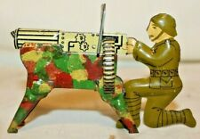 RARE BEAUTY 1938 Pre-WWII Marx TIN TOY ARMY SOLDIER CAMO MACHINE GUNNER