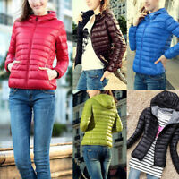 Women's Short Light Coat Hooded Down Coat Parka Jacket Winter Warm Outwear HS