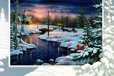 16 Boxed Embossed Christmas Cards Country Church In Snow Religious Verse Psalm