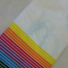 Vintage Pacific Mills Rainbow & Clouds Flat Sheet No-Iron Percale QUEEN Size