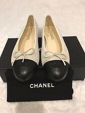 Chanel Silver/White Ballerina Flats 40.5