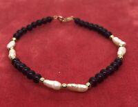 "14k Gold Estate Vintage Bracelet Rice Pearl Purple Garnet Beads Strand 7"" 3.6g"