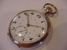 GOLD & 800 FINE SILVER BEAUTIFUL SWISS ANTIQUE MILITARY POCKET WATCH! SERVICED