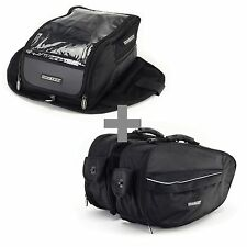 Bike It Motorcycle Luggage Touring Tank & Panniers Bag Pack Combo - Black