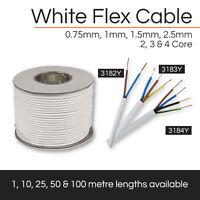 ALL WHITE FLEXIBLE CABLE 2 CORE- 4 CORE FLEX 0.75MM- 2.5MM X1M,10M,25M,50M,100M