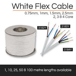 White Flex Cable | 2, 3 & 4 Core | 0.75mm - 2.5mm | 1M, 5M, 10M, 25M, 50M, 100M