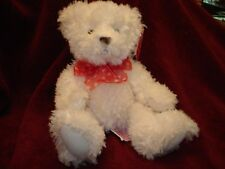 """""""Willow"""" Russ Berrie Soft White Teddy Bear Red Ribbon W Hearts 9"""" NWT"""