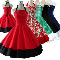 Vintage Tea Dress Dancing Party Rockabilly Swing Jive Polka 50s 60s Skirt Cotton