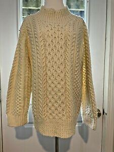Handmade Ivory White Fisherman's Irish Heavy Cable Long Sleeve Sweater- Medium