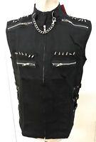 Steampunk Sdl Men's Black Heavy Cotton Sleeveless Top Spikes & Chain  L