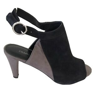 "FRANCO SARTO NEW Women's Black Taupe Suede Sling Back 3.5"" Heels Open Toe 8.5 M"