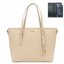 Concealed Carry CCW Double Pocket Gun Handbag Fashion Bag XL Beige Purse