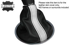 BLACK & WHITE STRIPE LEATHER SKIN MANUAL GEAR GAITER FITS VW BEETLE 2012-2015