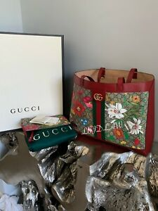 GUCCI Ophidia GG Flora Large Tote Red Leather Pouch Supreme Tian Bag Handbag
