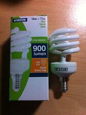 14 W 70w ses E14 pequeño tornillo en ahorro de energía Espiral Bombilla CFL Lámpara Blanco Cálido X 10