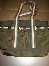 Lesportsac Avocado Stripe Medium Travel Tote Bag Purse New with Tags
