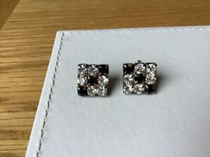 Art Deco Style Diamanté Clear & Black Crystal Stones Earrings