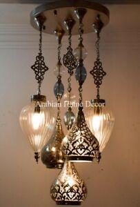 Handcrafted Turkish Blown Glass & Brass Pendant Chandelier, Moroccan Lamp Light