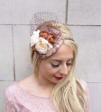 Brown Cream Rose Flower Fascinator Headband Races Wedding Net Hair Vtg Hat 3977