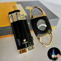 Accessories Set Cigar Lighter With Punch Cutter Windproof 3 Torch Jet Flame Gas