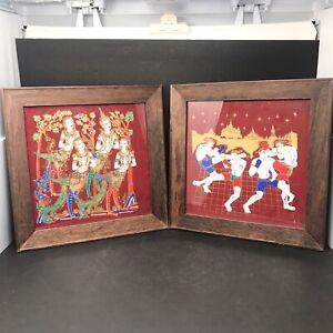 Vint Set Mid Century Thai Boxers /Goddesses Hand Painted Silk Artwork Framed (2)